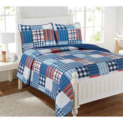 Hudson Patchwork 3-Piece Multi-Color Full Quilt Set