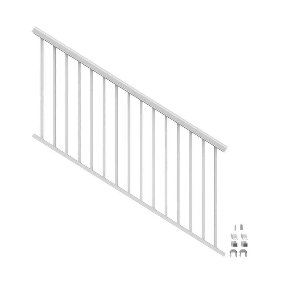 Penrose 6 ft. x 36 in. White Aluminum Decorative Rail Stair Kit