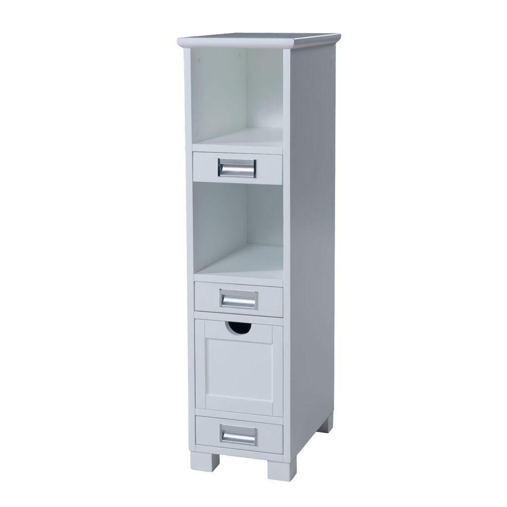 Hayden 12 in. W x 44 in. H x 18 in. D Bathroom Linen Storage Cabinet in White