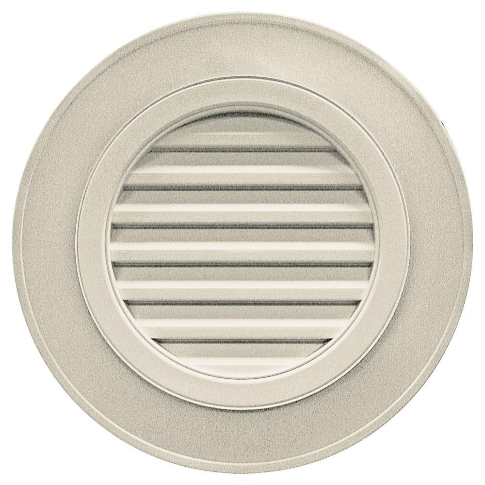 Builders Edge 28 in. Round Gable Vent in Champagne (without Keystones)