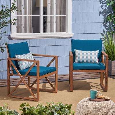 Lisa Brown Patina Stationary Wood Outdoor Lounge Chair with Dark Teal Cushions (2-Pack)
