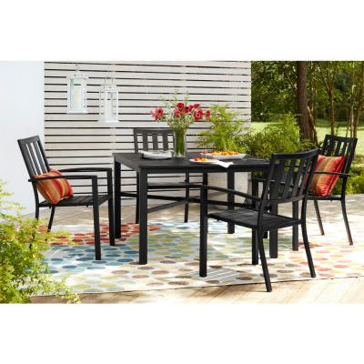 Mix and Match Black Stackable Metal Slat Outdoor Patio Dining Chair (2-Pack)