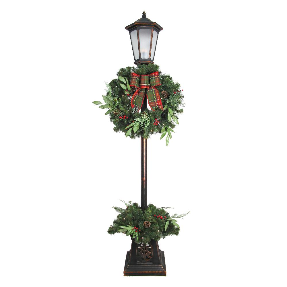 Home Accents Holiday 7 ft. Pre-lit Woodmoore Artificial Lamp Post With Warm White LED Light Decorated With Pinecones And Berries