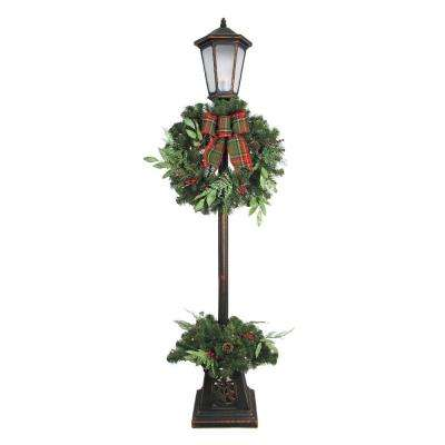 7 ft. Pre-lit Woodmoore Artificial Lamp Post With Warm White LED Light Decorated With Pinecones And Berries
