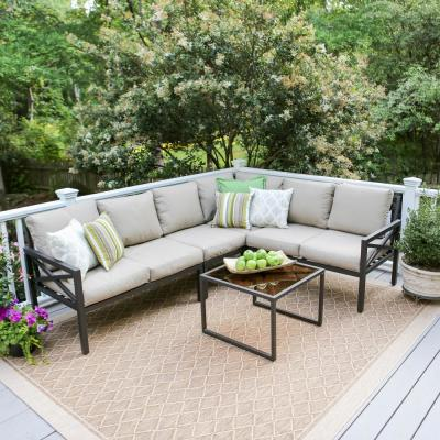 Blakely 5-Piece Aluminum Outdoor Sectional with Sunbrella Cast Ash Cushions