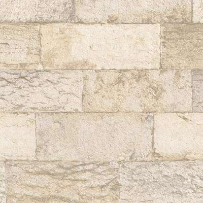 Beige and Cream Faux Organic Stone Wallpaper