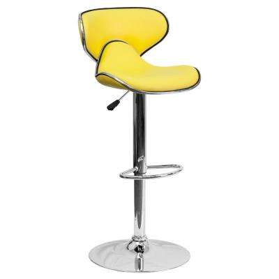 Adjustable Height Yellow Cushioned Bar Stool
