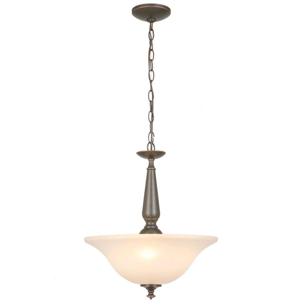 Commercial Electric 3-Light Oil Rubbed Bronze Pendant with Tea-Stained Glass Shade