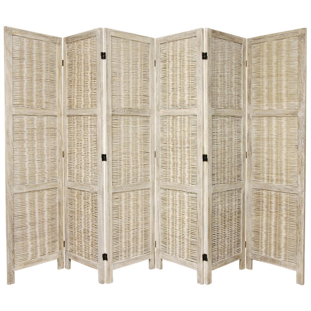 Oriental 6 ft. Burnt White Matchstick 6-Panel Room Divider
