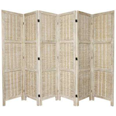 6 ft. Burnt White Matchstick 6-Panel Room Divider