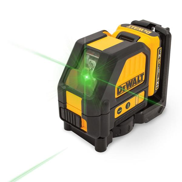 12-Volt MAX Lithium-Ion 165 ft. Green Self-Leveling Cross-Line Laser Level with Battery 2Ah, Charger, & Case