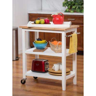 White Kitchen Cart With Pull-Out Tray