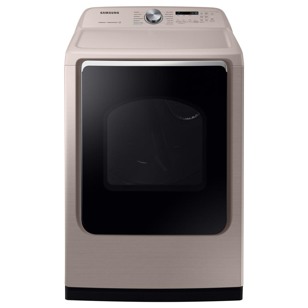 Samsung Samsung 7.4 cu. ft. 120-Volt Champagne Gas Dryer with Steam Sanitize+, Beige