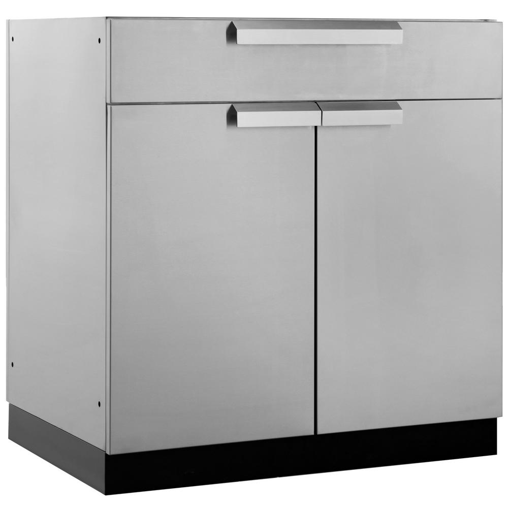 NewAge Products Stainless Steel Bar 32 in. W x 36.5 in. H x 23 in. D  Outdoor Kitchen Cabinet