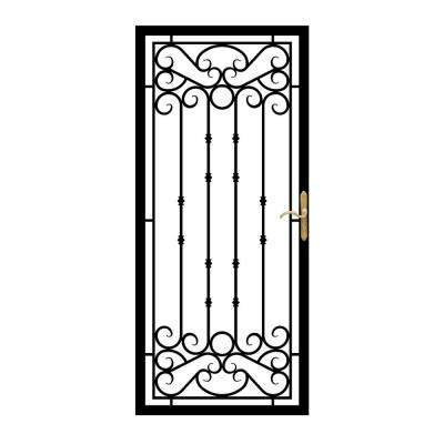 36 in. x 80 in. 368 Series Bella Wrought Iron Black Security Door Recessed Mount