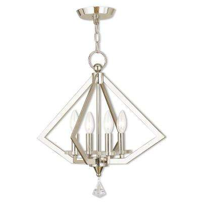 Diamond 4-Light Polished Nickel Mini Chandelier