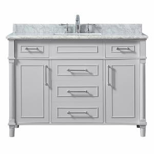 Aberdeen 48 in. W x 22 in. D Vanity in Dove Grey with Carrara Marble Top with White Sink