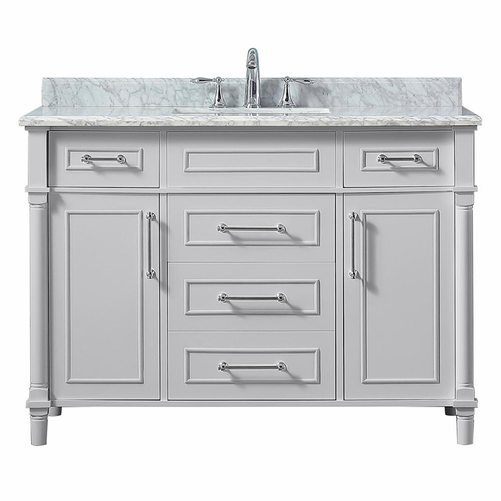 D Vanity In Dove Grey With Carrara Marble Top White Sink