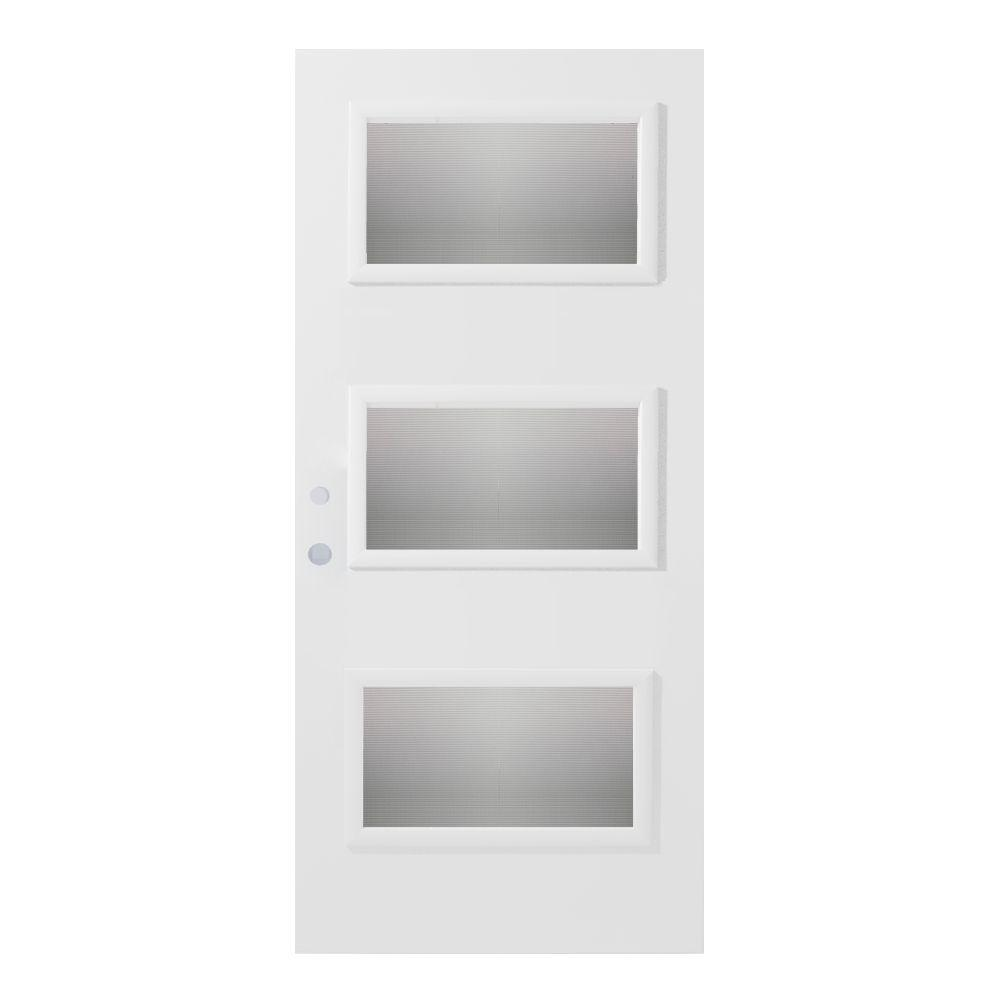 Stanley Doors 32 in. x 80 in. Dorothy Screen 3 Lite Painted White Steel Prehung Front Door