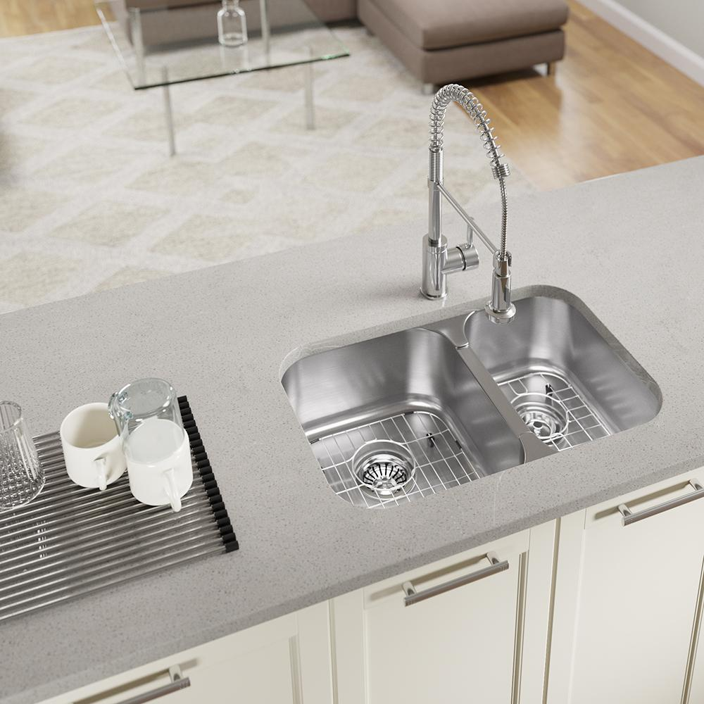 MR Direct All-in-One Undermount Stainless Steel 27-1/2 in. 55/45 Double  Bowl Kitchen Sink
