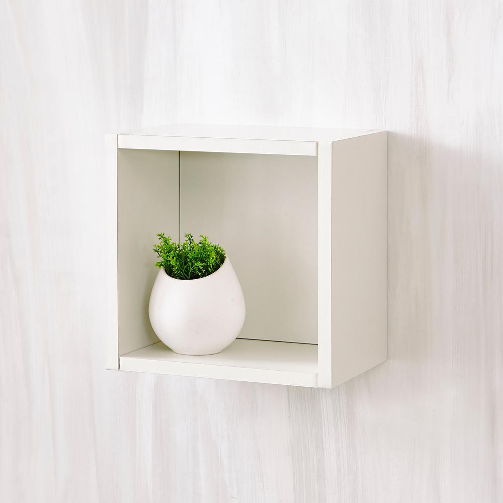 Way Basics Halifax 7.7 x 11.2 x 11.2 zBoard  Wall Cube Decorative Floating Shelf in Pearl White