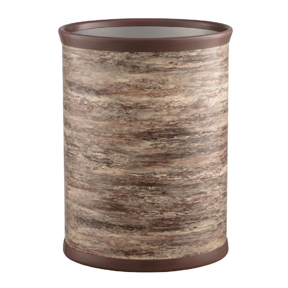 Kraftware Quarry 13 Qt. Brown Stone Oval Waste Basket 55074