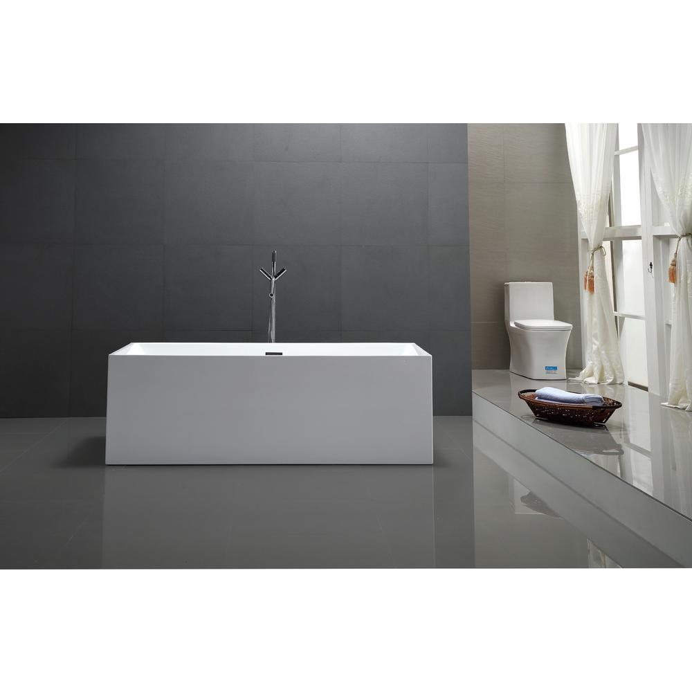 Vanity Art Talence 59 in. Acrylic Flatbottom Freestanding Bathtub in White
