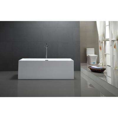 Talence 59 in. Acrylic Flatbottom Freestanding Bathtub in White