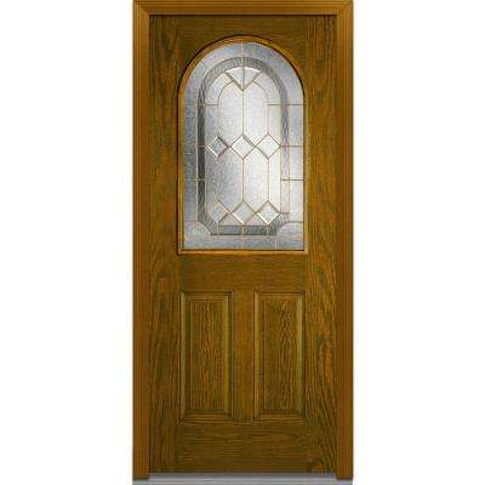 36 in. x 80 in. Majestic Elegance Right-Hand 1/2-Lite Decorative 2-Panel Stained Fiberglass Oak Prehung Front Door