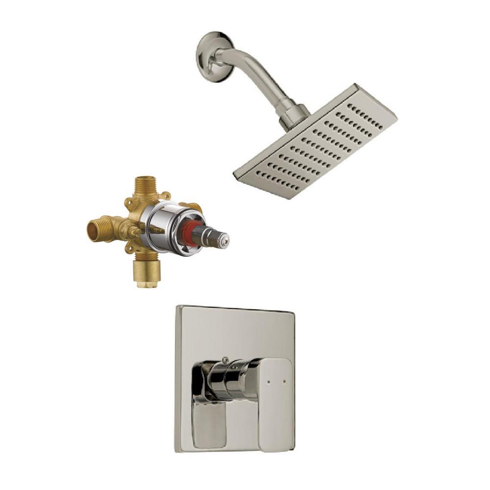 Karsen Tub and Shower Trim Kit in Satin Nickel (Valve Included)