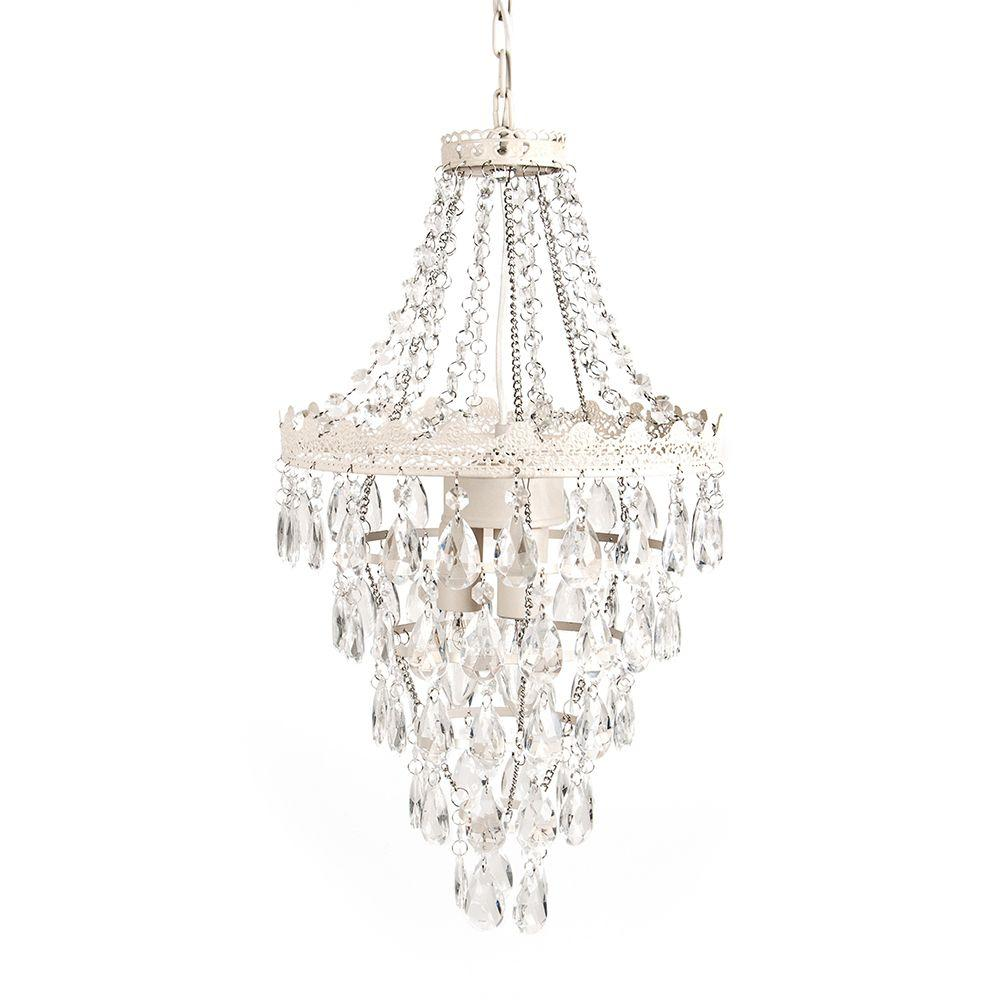 Tadpoles 1 Light Antique White Diamond Pendant Lamp Chandelier