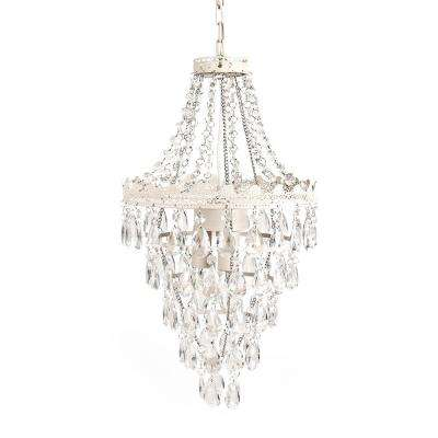 1-Light Antique White Diamond Pendant Lamp Chandelier