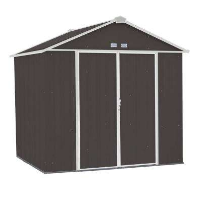 EZEE Shed 8 ft. x 7 ft. Galvanized Steel Charcoal/Cream Trim High Gable