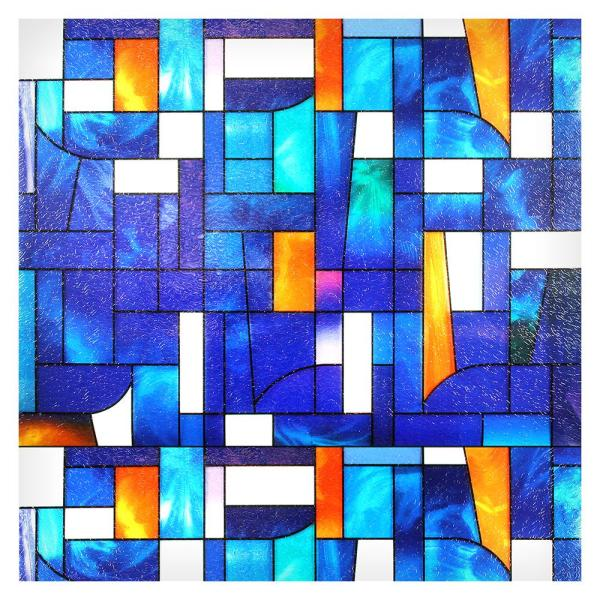 36 in. x 7.4 ft. 3ABST 3Abstract Stained Glass Window Film