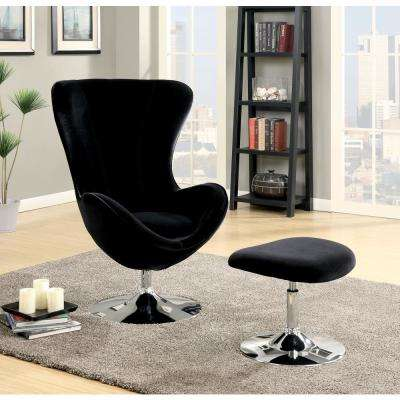 Sheila Black Accent Chair with Ottoman - High Chair Back