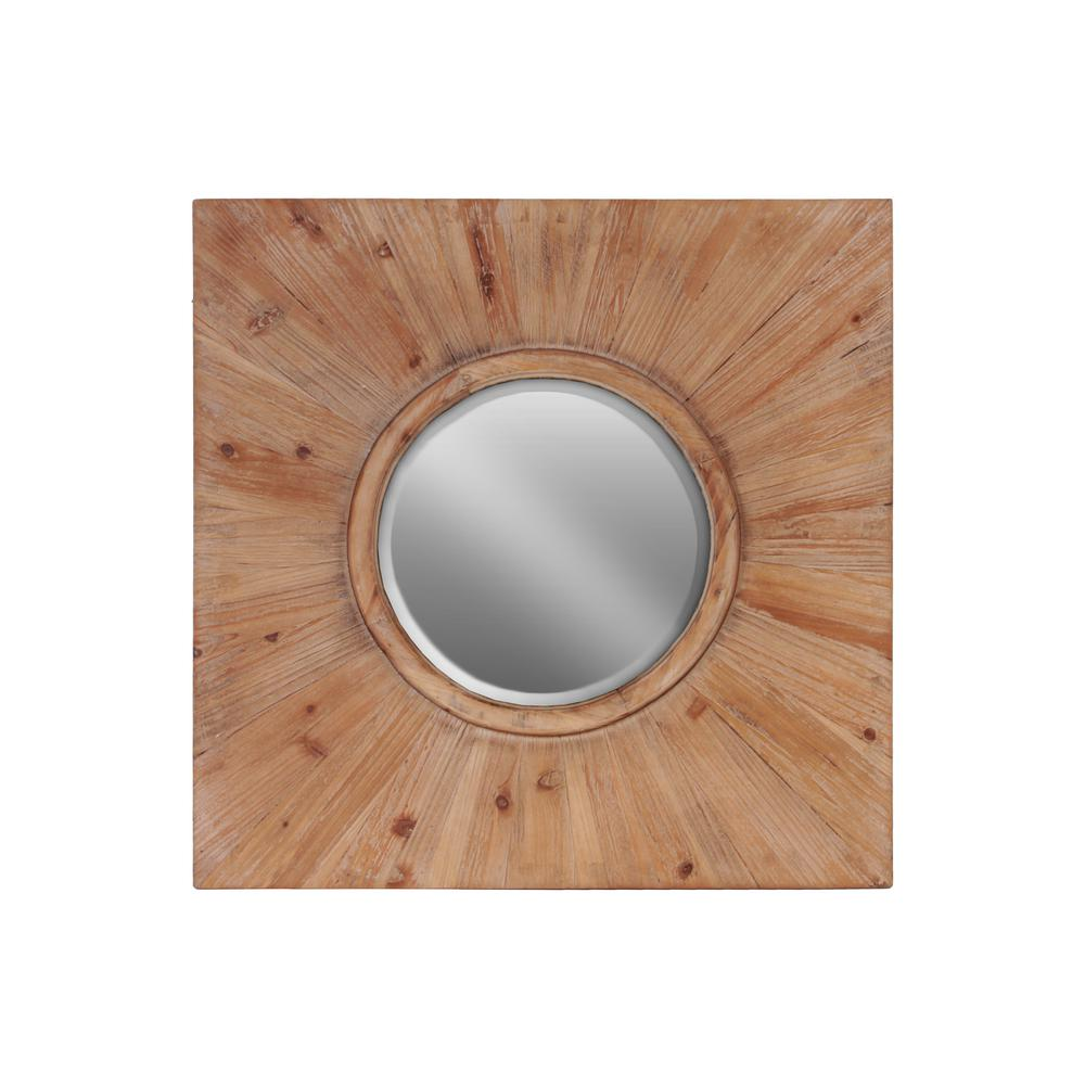 Urban Trends Collection Squareround Brown Stained Wood Wall Mirror
