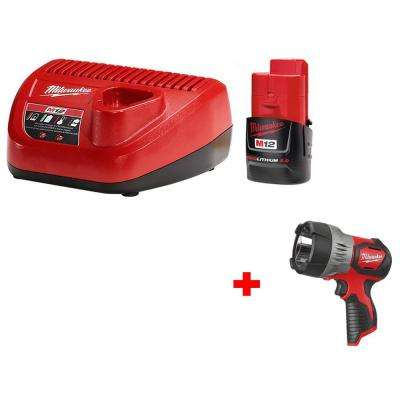 M12 12-Volt Lithium-Ion Starter Kit with M12 12-Volt Lithium-Ion Cordless LED Spotlight