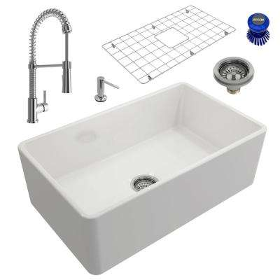 Classico All-in-One Farmhouse Fireclay 30 in. Single Bowl Kitchen Sink with Livenza Polished Chrome Faucet and Soap Disp