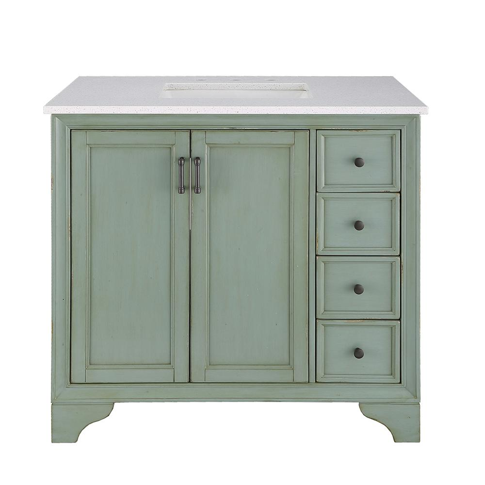 Home Decorators Collection Hazelton 37 in. W x 22 in. D Vanity in Antique Green with Engineered Stone Vanity Top in Crystal White with White Sink