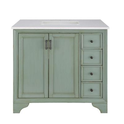 Hazelton 37 in. W x 22 in. D Vanity in Antique Green with Engineered Stone Vanity Top in Crystal White with White Sink