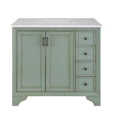 Hazelton 37 in. W x 22 in. D Vanity in Antique Green with Engineered Stone Vanity Top in Crystal White with White Basin