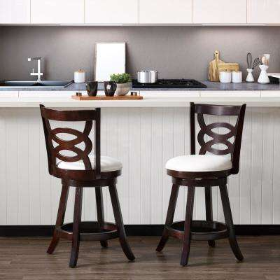 Woodgrove 25 in.Counter Height Wood  Swivel Barstools with White Leatherette Seat and Circular Design (Set of 2)