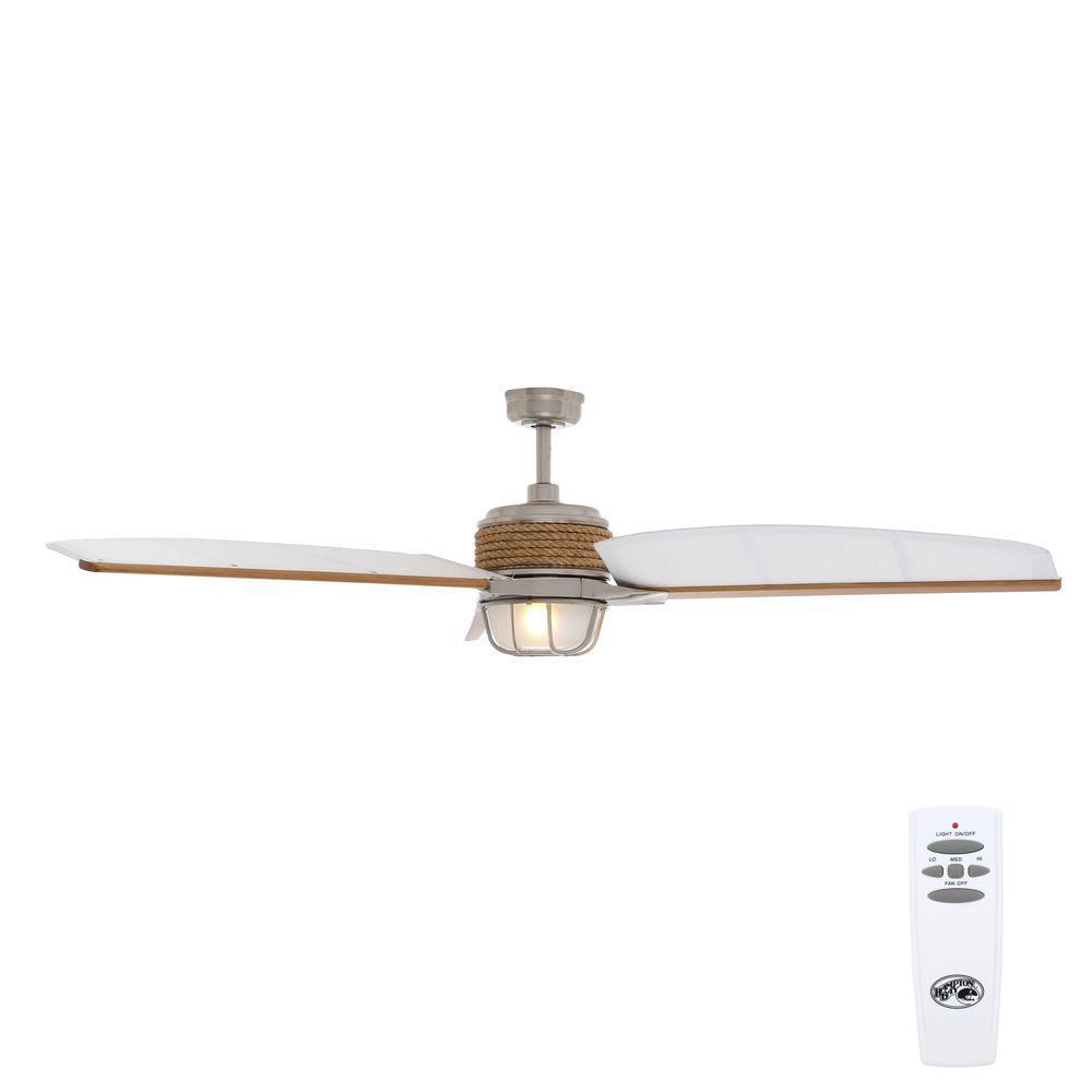 Indoor/Outdoor Brushed Nickel Ceiling Fan With Light Kit And Remote ...
