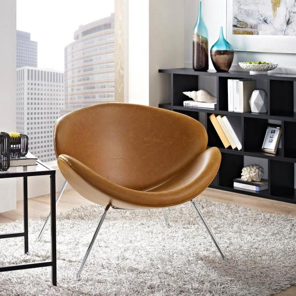 MODWAY Nutshell Upholstered Vinyl Lounge Chair in Tan EEI-809-TAN
