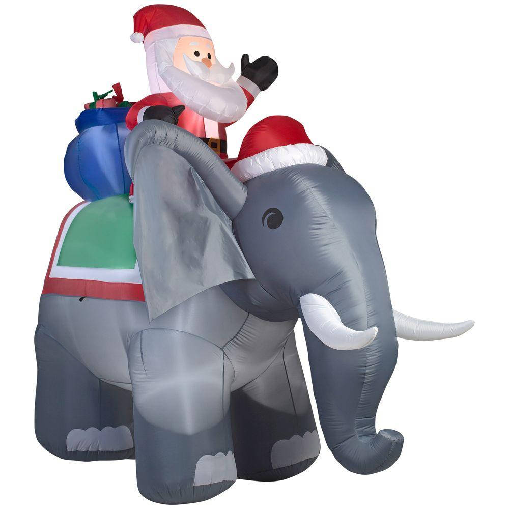 Gemmy 88.58 in. W x 122.05 in. D x 125.98 in. H Lighted Inflatable Santa on Elephant Scene