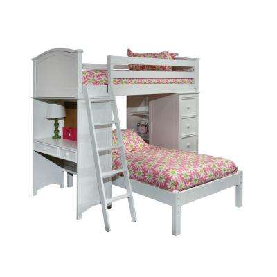 Cooley White Twin SSS Loft with Lower Platform Bed