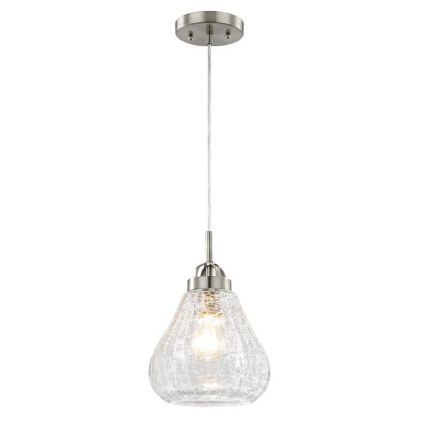 1-Light Brushed Nickel Mini Pendant with Clear Crackle Glass Shade