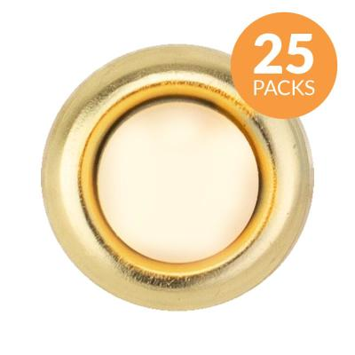 Round Unlighted Wired Doorbell Push Button Insert, Brass (25-Pack)