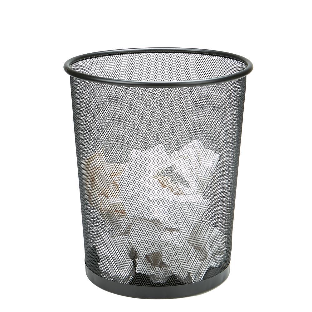 3-Piece Black Metal Mesh Garbage Waste Basket Recycling Bin Set