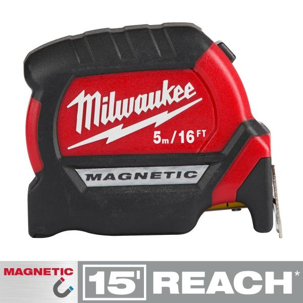 5 m/16 ft. x 1 in. Compact Magnetic Tape Measure with 15 ft. Reach